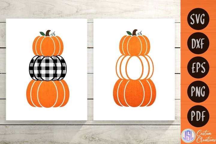 Stacked Buffalo Plaid Pumpkins | Set of 2 | SVG DXF EPS PNG