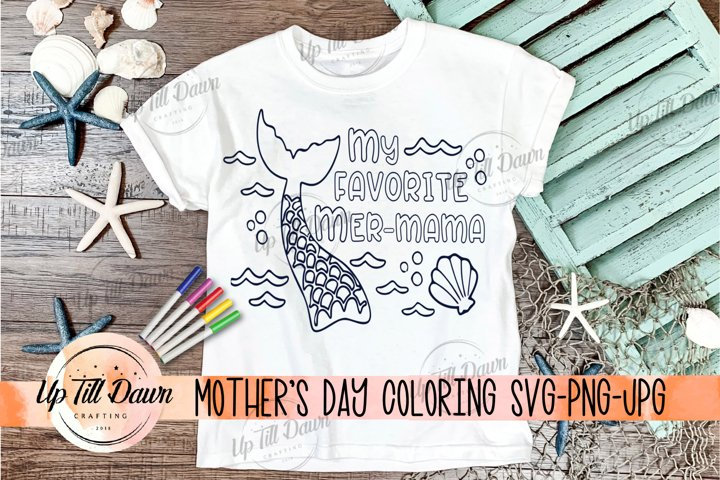 Mothers Day Coloring SVG, Mermaid Coloring, Mermama SVG