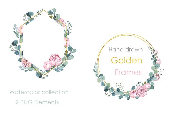 Watercolor Clipart Wedding. Wedding Frame. Eucalyptus wreath