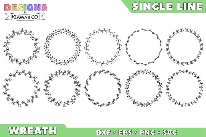 Single Line Wreath Set 1 - DXF, EPS, PNG, SVG