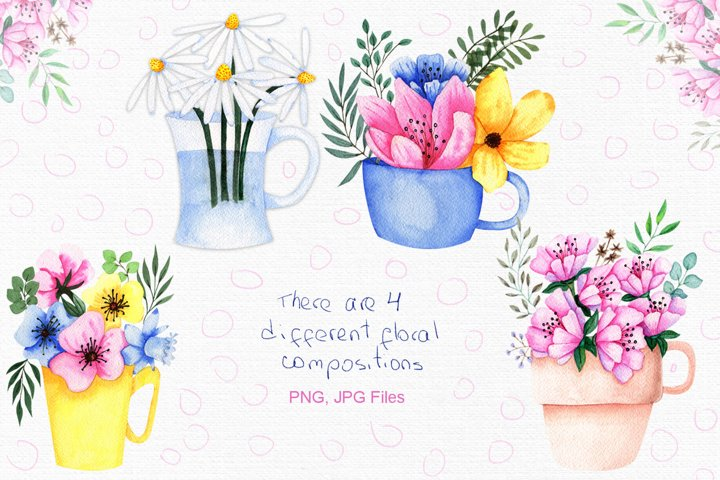 Watercolor Flowers in Cup example 1
