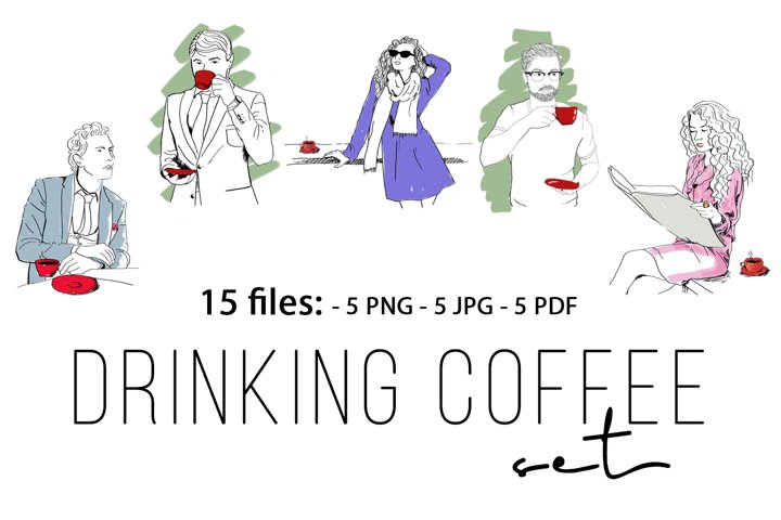 DRINKING COFFEE SET. HAND DRAWN HIPSTER COFFEE TIME