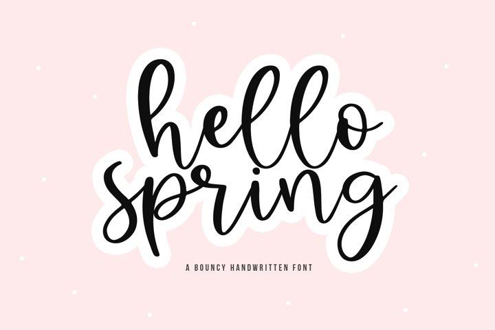 Hello Spring - A Bouncy Handwritten Script Font