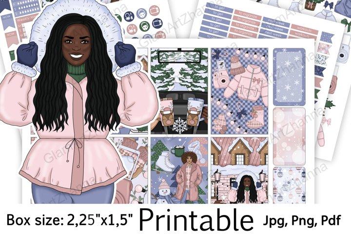 African American Winter Christmas Sticker Box Size 2,25x1,5