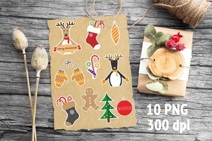 10 Christmas stickers
