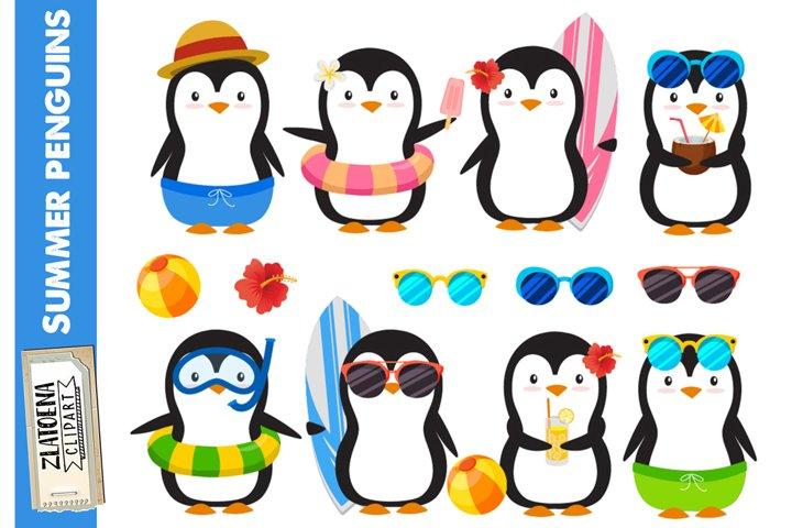 Summer Penguins Clip art Penguin clipart Pool party clipart