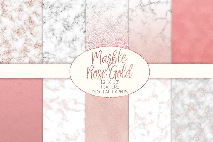 Marble x Rose Gold Texture Digital Papers