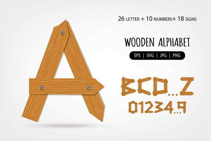 Wooden Alphabet, Numbers and signs. Letter made from wooden