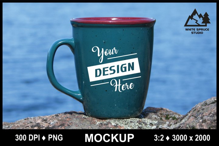 Outdoor Mug Mockup #3 PNG, Scenic Mockup with Mug, Drinkware