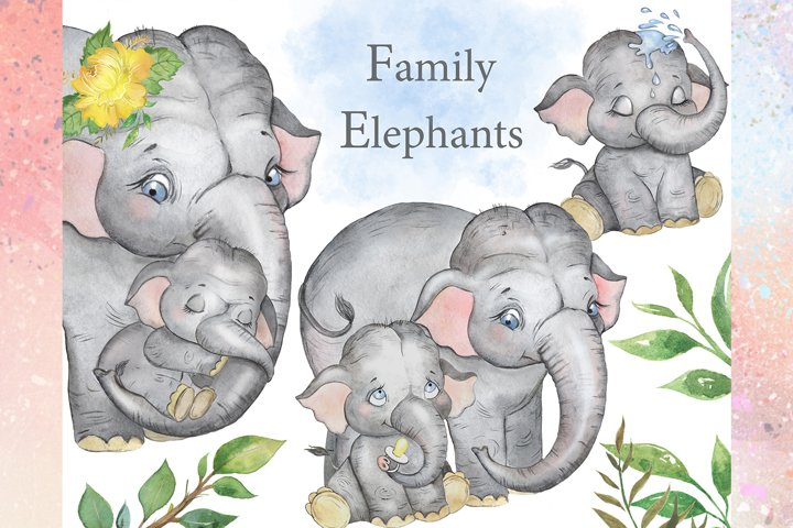 Elephants watercolor clipart. Baby elephant, elephant family