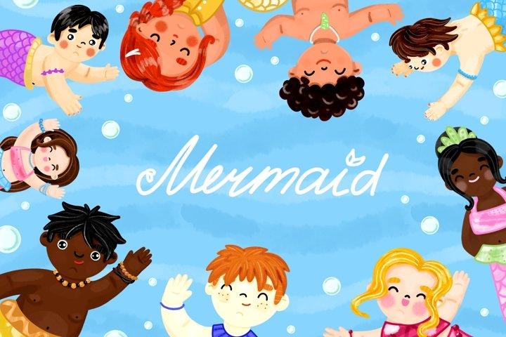 Hand drawn Mermaid clipart, baby shower mermaid clipart