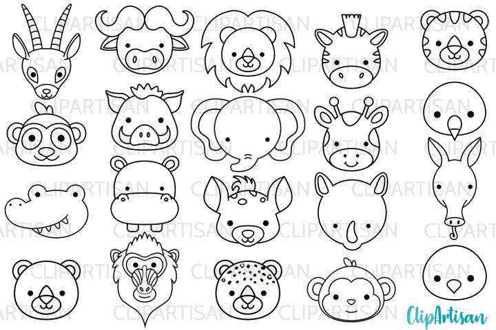 African Animal Faces Clipart, Safari Animals Digital Stamps