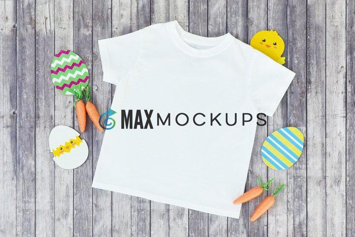 Kid shirt Easter mockup, eggs chick, carrots, boy girl