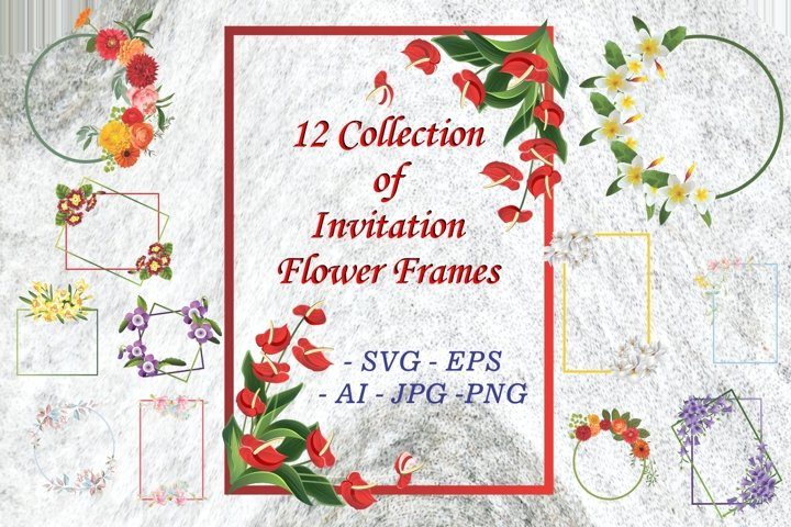 12 Collection of Vector Flower Frames