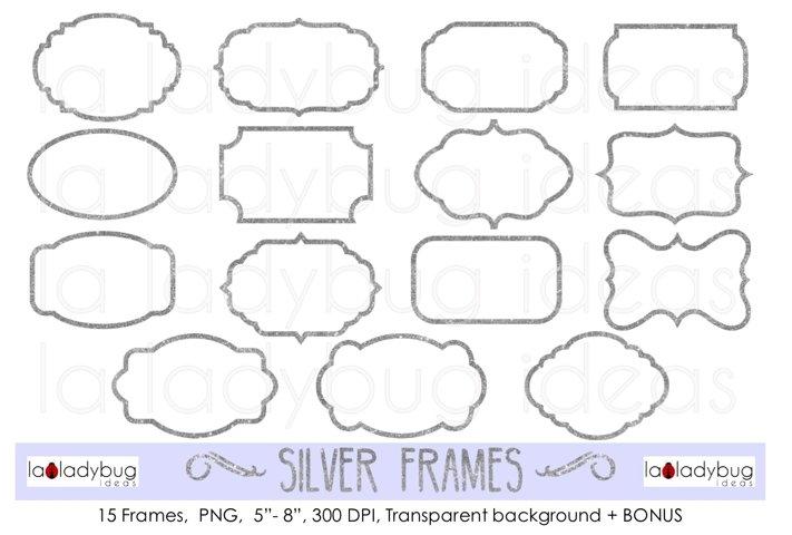 Silver frames. Clip art. Glitter silver frames.