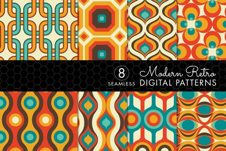 8 Modern Retro Patterns - Brown, Orange & Turquoise- Set 3