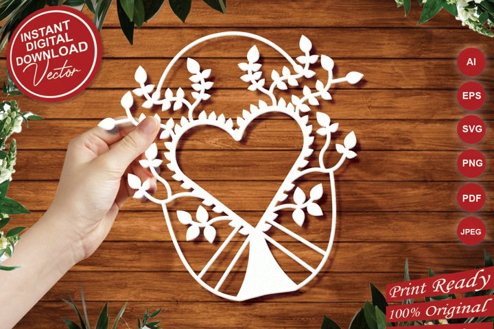 Heart Intricate Paper Cut Design - SVG Cut Files