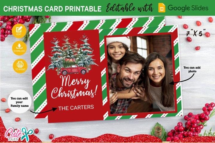 Merry Christmas card Template editable with Google