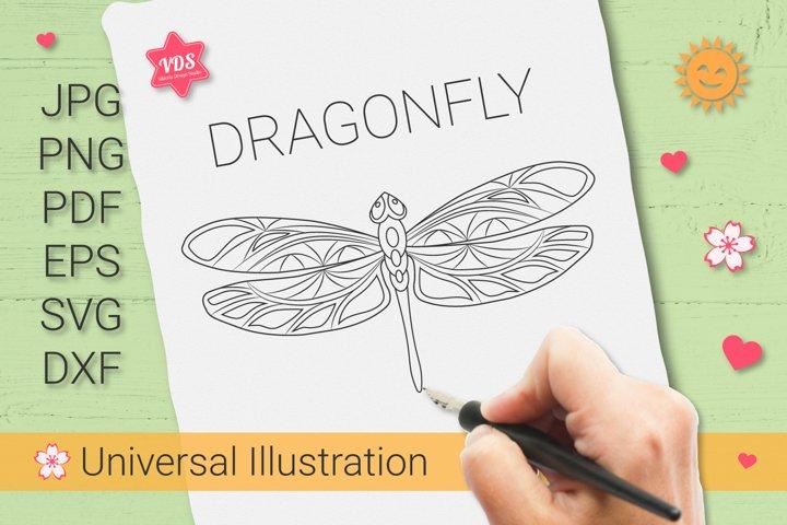 Openwork Dragonfly_Vector Illustration_Sublimation_Print_