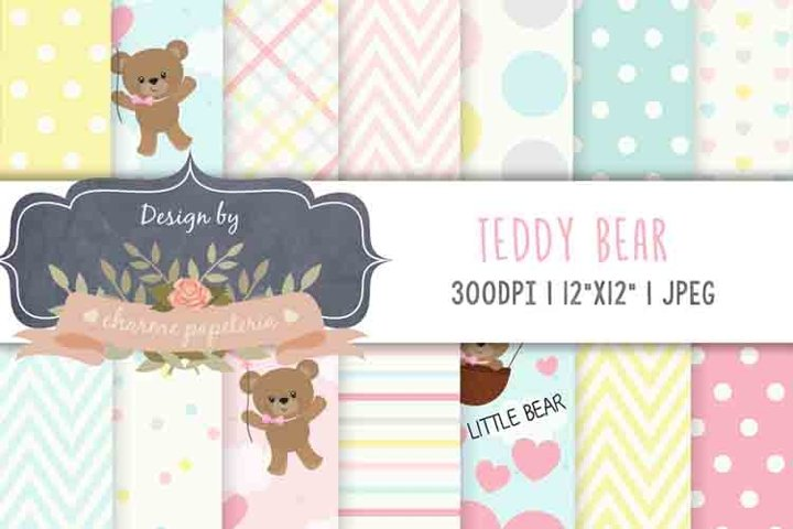 Pink Bear Baby Girl Baby Shower, Teddy Bear Pink blue yellow