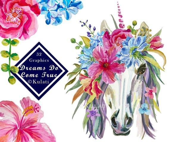 Floral Unicorn Graphics / Clipart / Illustrations
