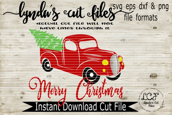 Merry Christmas with Red Truck//SVG//EPS//DXF
