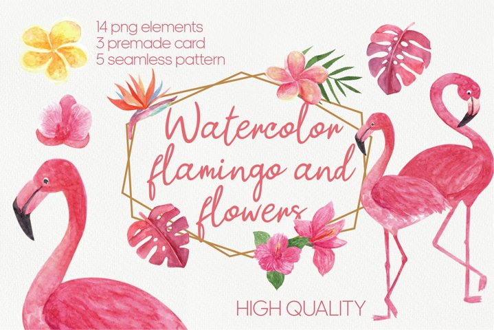 Watercolor flamingo and flowers set. Summer tropical clipart