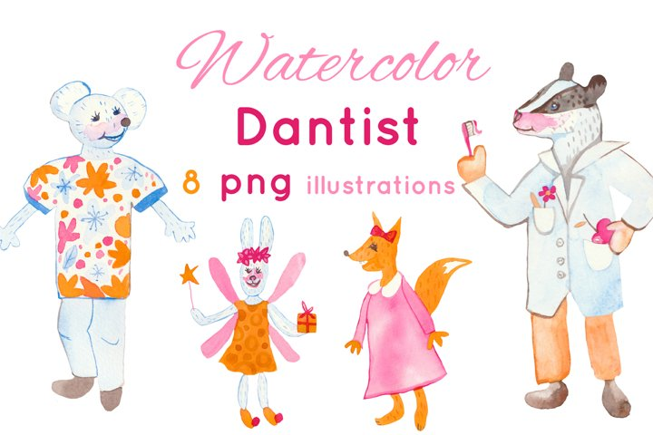 Watercolor dantist illustrations