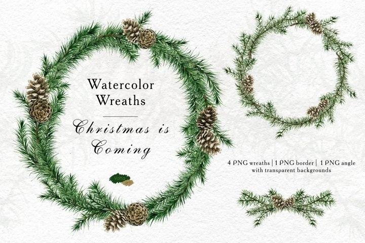 Watercolor Christmas wreaths and borders, Conifer, Winter PN