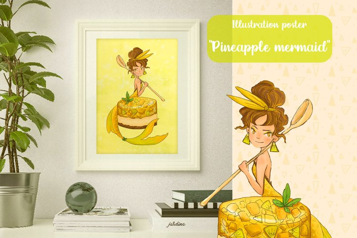 Digital poster Pineapple mermaid with dessert, jpg