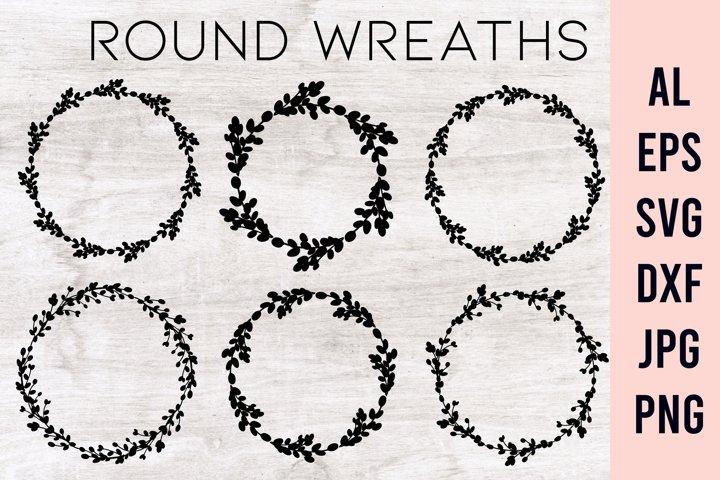 Floral wreath SVG | Circle frame SVG |Easter frame monogram