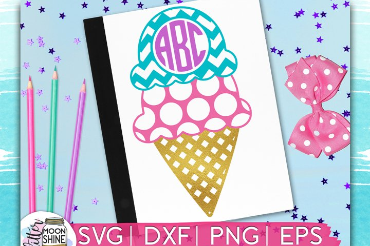 Ice Cream Monogram Frame SVG DXF PNG EPS Cutting Files