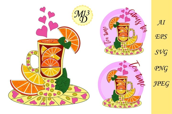 Citrus tea with lemon and orange pieces.Tea cooked with love
