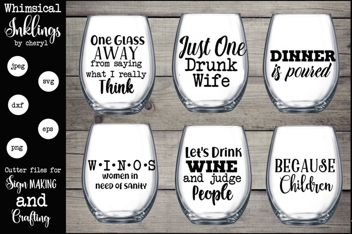 One Glass Away Wine SVG Set - Free Design of The Week Font