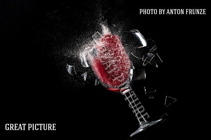 A glass of wine explodes