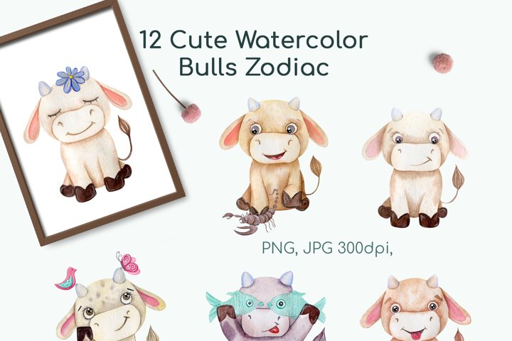 Watercolor Bulls Zodiac 2021 example 7
