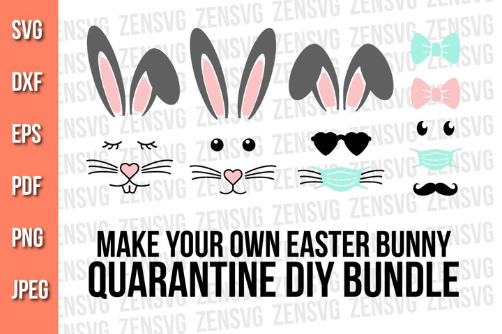 Easter Bunny Kit Diy, Quarantine Bunny Face Svg Bundle