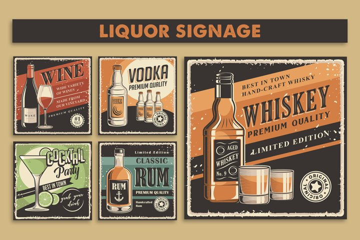 Wine, Whiskey, Rum, Vodka, Cocktail Retro Poster Set