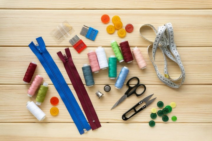 Flat lay of accessories for tailor
