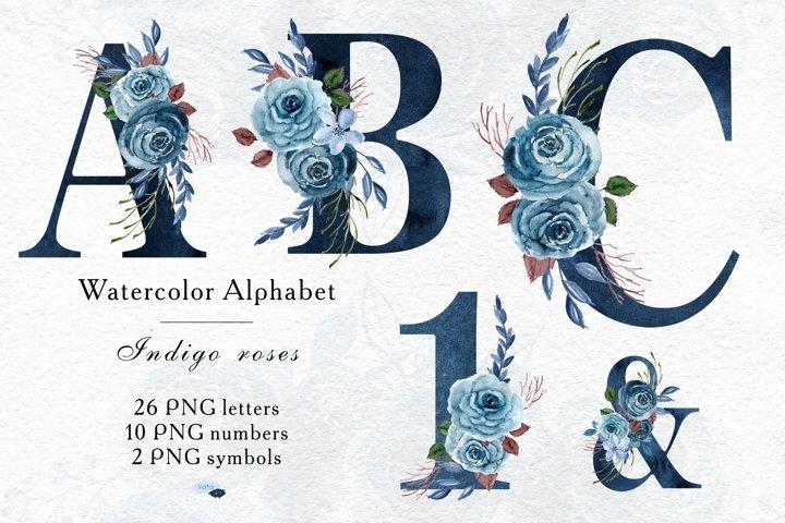 Indigo Alphabet, Indigo Dusty Blue, Uppercase letters PNG