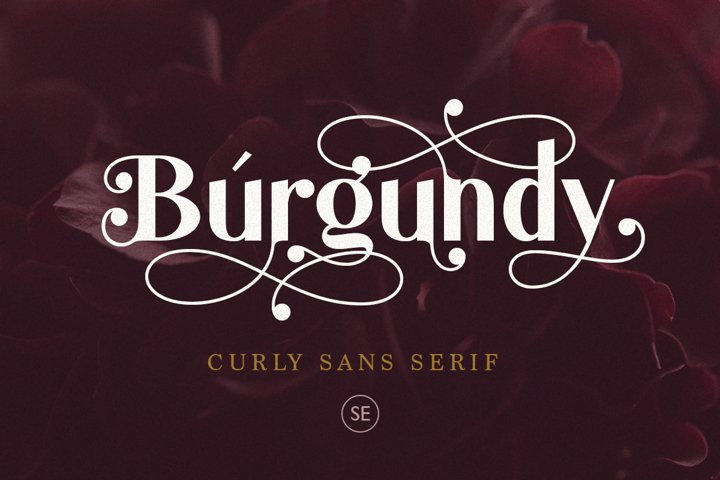 Burgundy - Curly Sans Serif