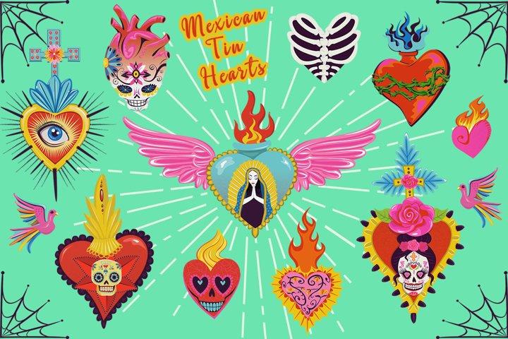 Mexican Tin Milagro Hearts Graphics