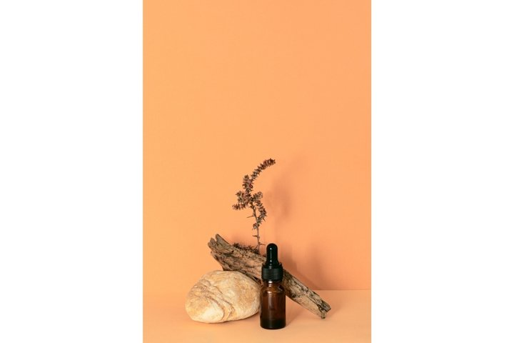 Dropper glass bottle of essential oil or serum