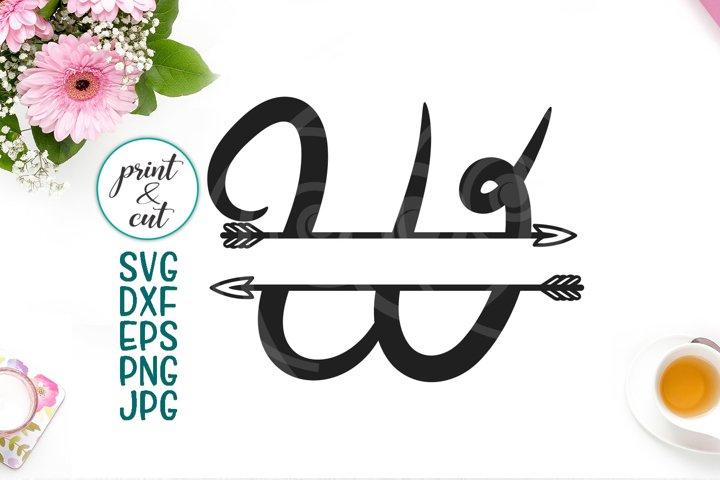 Monogram letter W svg dxf cut file, split font with arrows