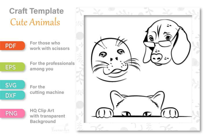 3 Cute Animal Faces - Cut File for Crafters