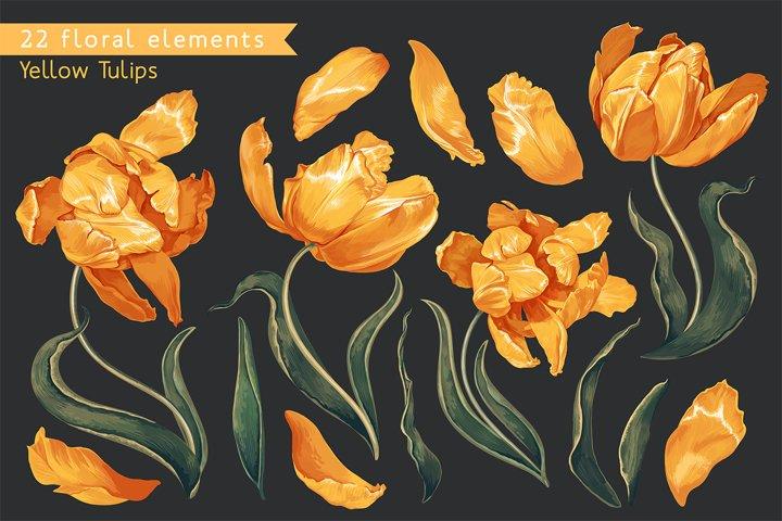 Realistic Vector Yellow Tulips