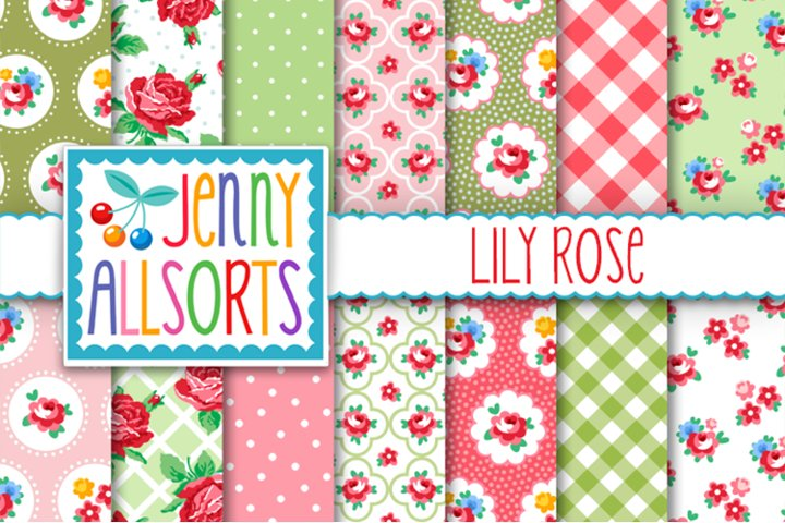 Shabby Chic Rose Papers - Pink Red & Aqua - Lily Rose
