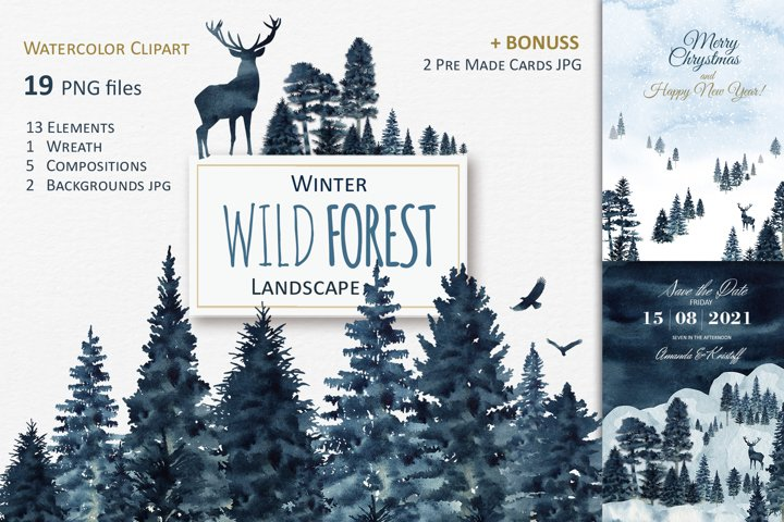 Winter Wild Forest Landscape Clipart, Watercolor Christmas