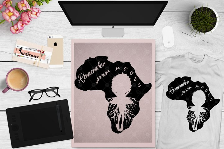 Afro Woman Roots, Africa Map, Black History Month SVG File
