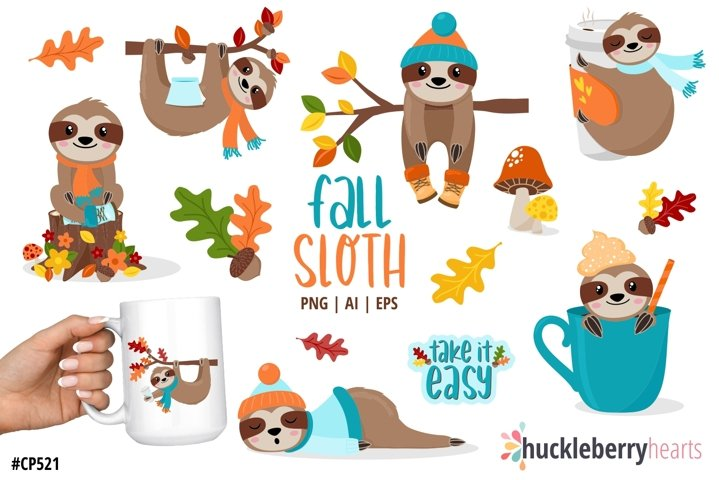 Fall Sloth Clipart